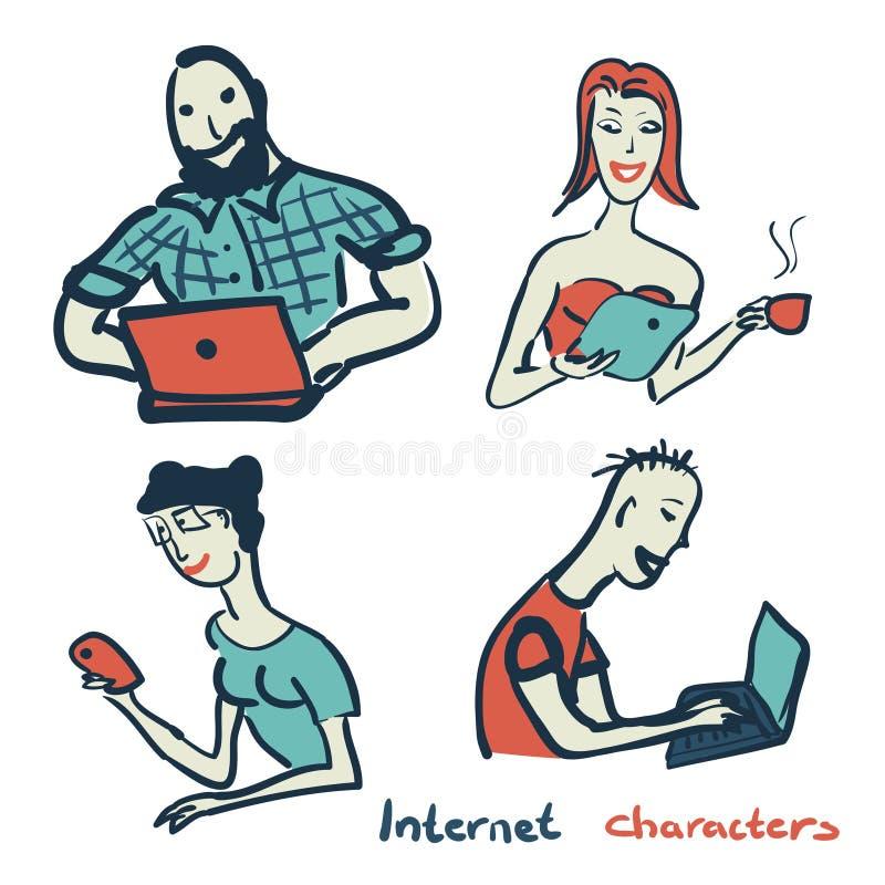 Uppsättning av tecken på temat av den internetteknologi och apparaten royaltyfri illustrationer