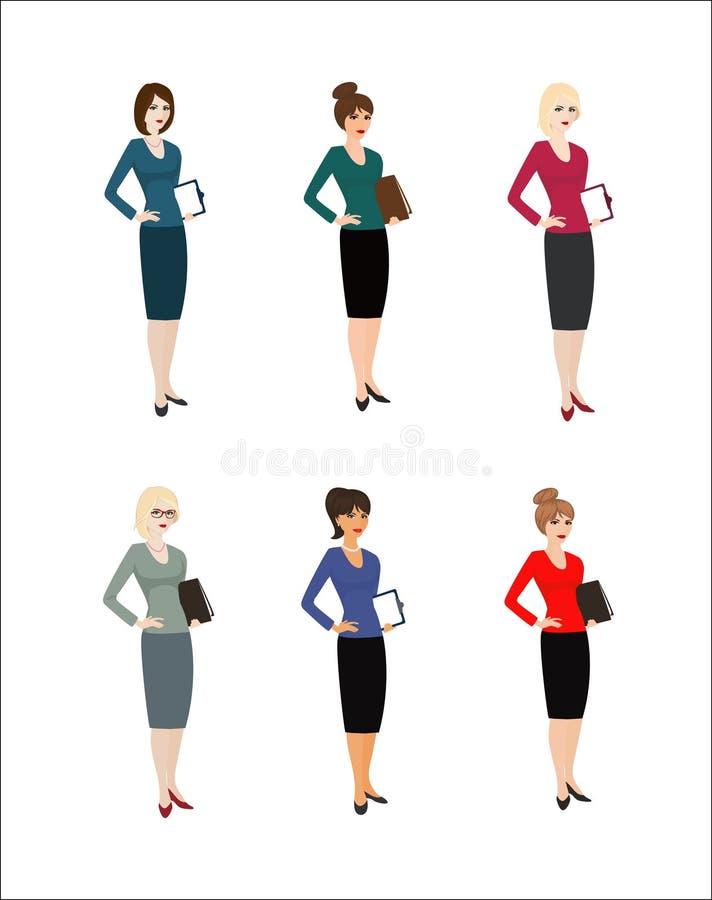 Uppsättning av teckenaffärskvinnan stock illustrationer