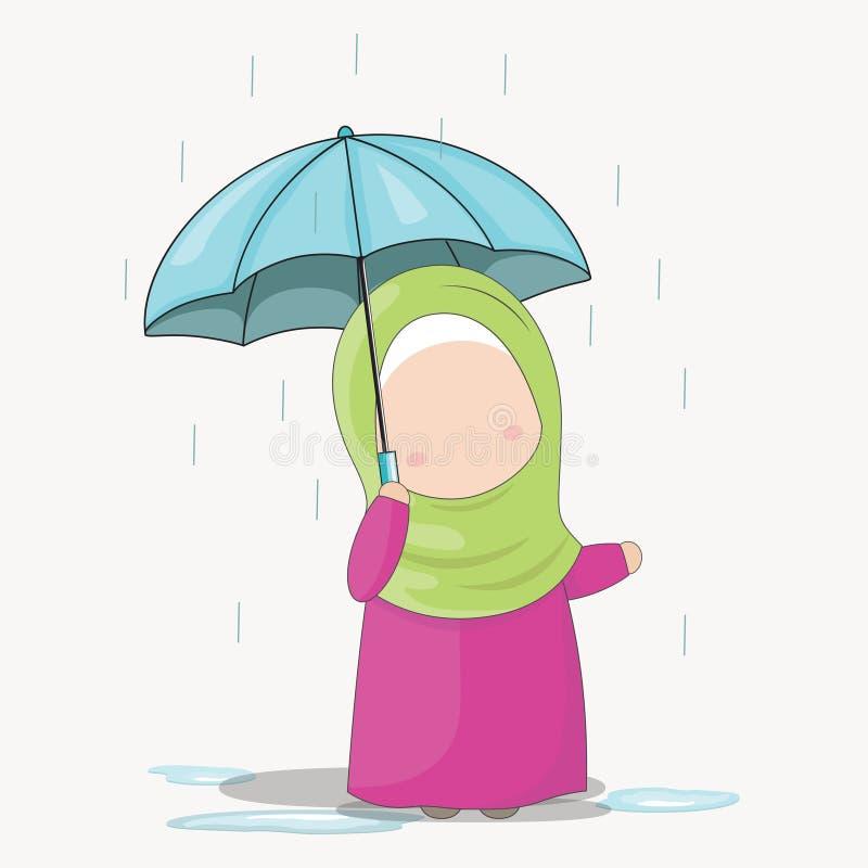 Uppsättning av teckenet för Hijab flickatecknad film under regnet med ett paraply, vektorillustration vektor illustrationer