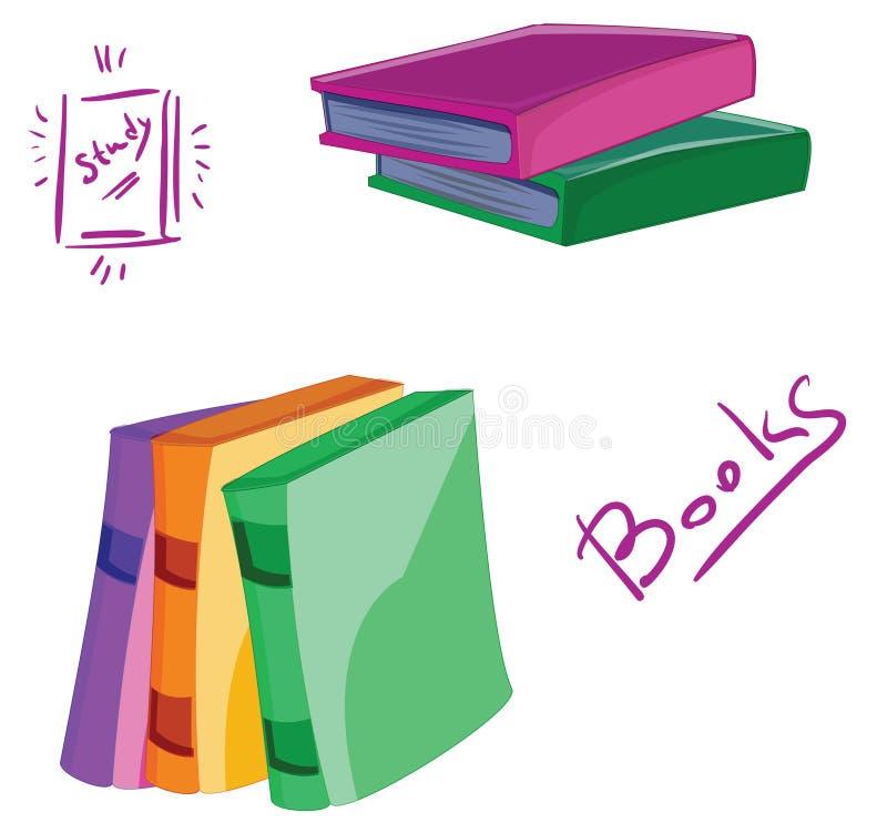 Uppsättning av tecknad filmböcker stock illustrationer