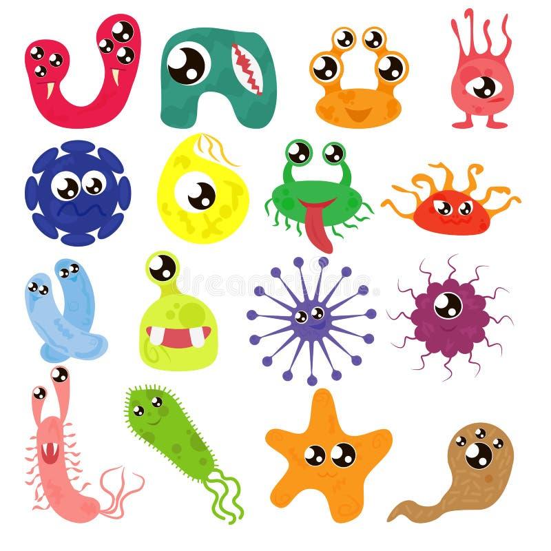 Uppsättning av tecknad filmbakterier, roliga tecken, gulliga monster med olika former, färger och ansiktsuttryck Rolig virus stock illustrationer