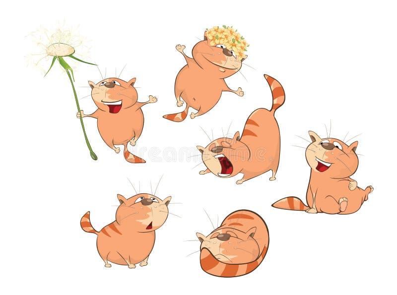Uppsättning av tecknad filmillustrationen Gulliga katter för dig design stock illustrationer