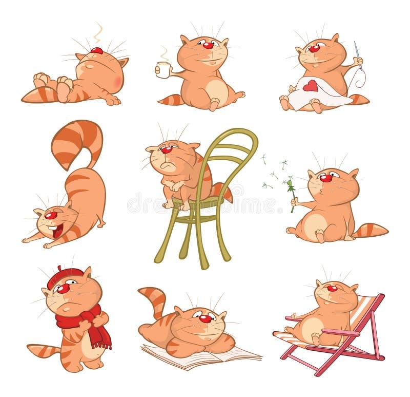 Uppsättning av tecknad filmillustrationen Gulliga katter för dig design Komikerband stock illustrationer