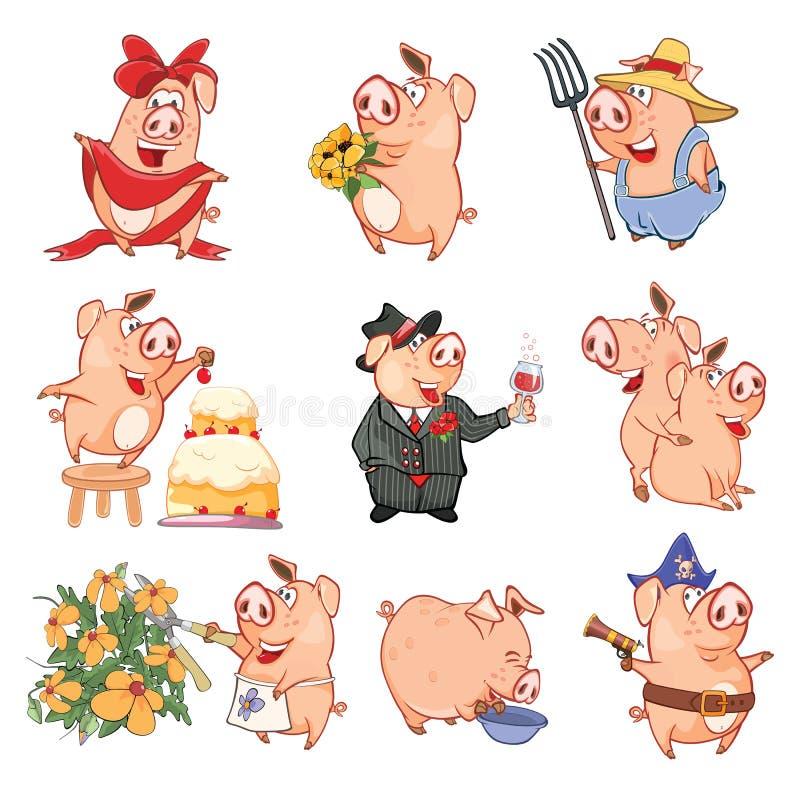 Uppsättning av tecknad filmillustrationen Gulliga svin i olikt poserar för dig design huvudet för uppnosiga gulliga hundar för ba stock illustrationer