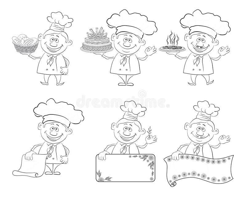 Uppsättning av tecknad filmkockar, kockar, översikt stock illustrationer