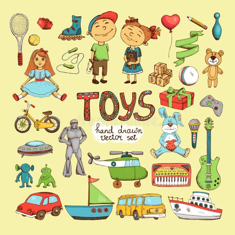 Uppsättning av tecknad filmleksaker stock illustrationer