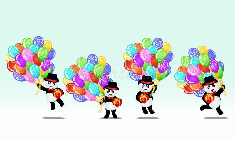 Uppsättning av tecknad filmpandabjörnen med födelsedagballonger och gåvor Innehåller genomskinliga objekt stock illustrationer
