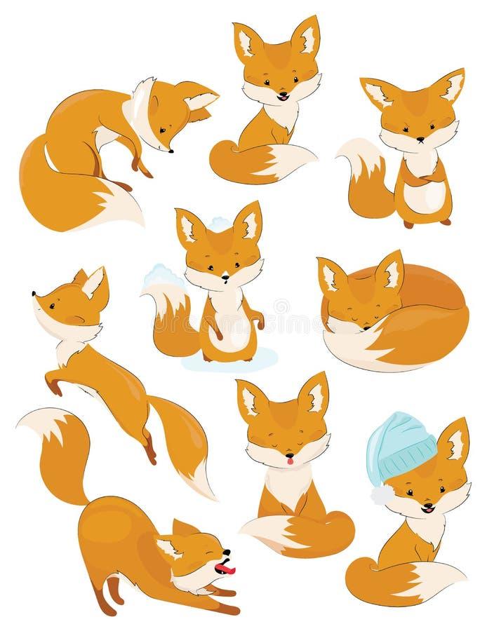 Uppsättning av tecknad filmrävar Samling av gulliga rävar Vektorillustration för barn wild djur stock illustrationer