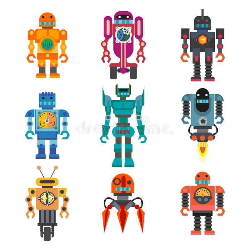 Uppsättning av tecknad filmrobotar stock illustrationer