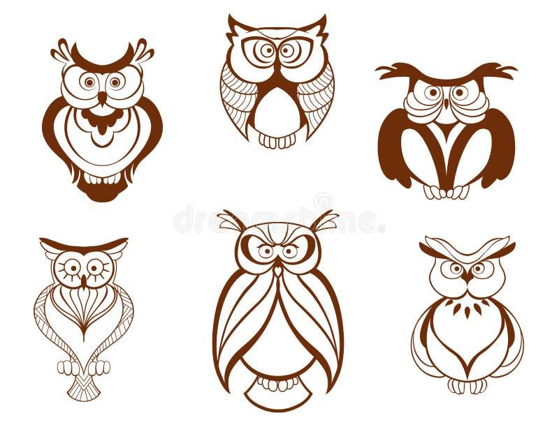 Uppsättning av tecknad filmugglafåglar stock illustrationer