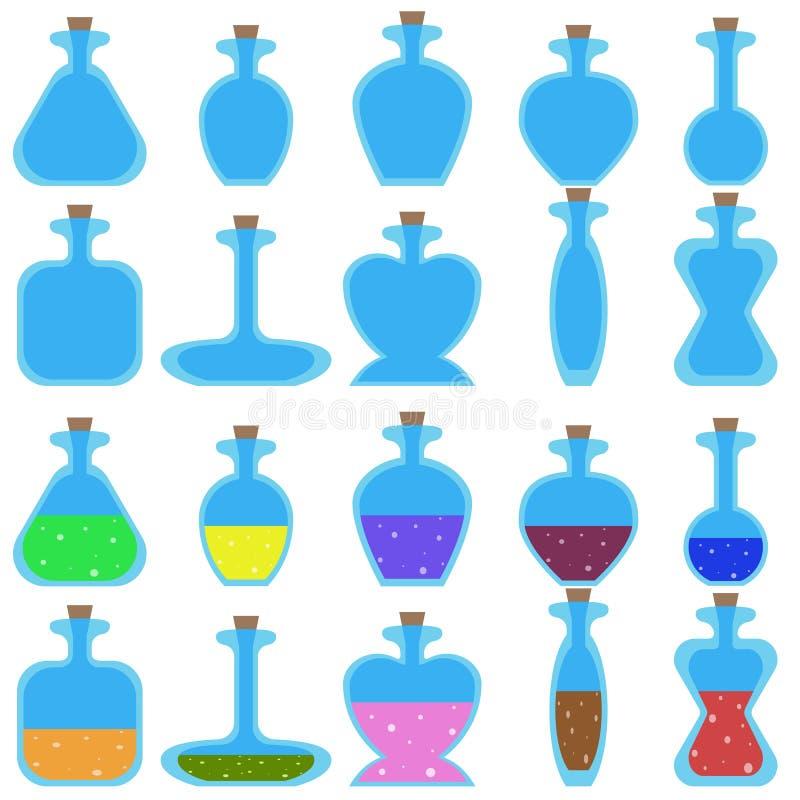 Uppsättning av tecknad filmvektorflaskor av olik form för en lek stock illustrationer