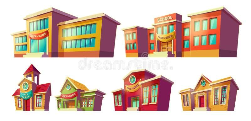 Uppsättning av tecknade filmen för vektortecknad filmillustrationer av olika gamla, retro och moderna utbildningsinstitutioner fö royaltyfri illustrationer