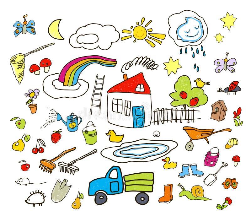 Uppsättning av teckningar i barn som stil stock illustrationer