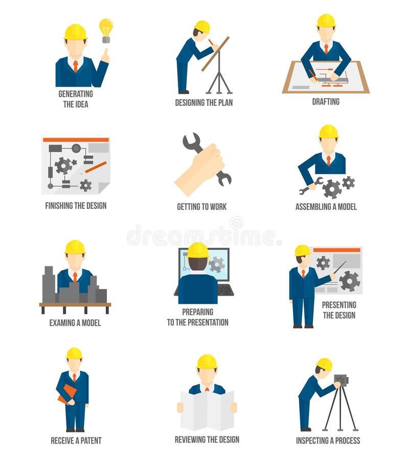 Uppsättning av teknikersymboler royaltyfri illustrationer