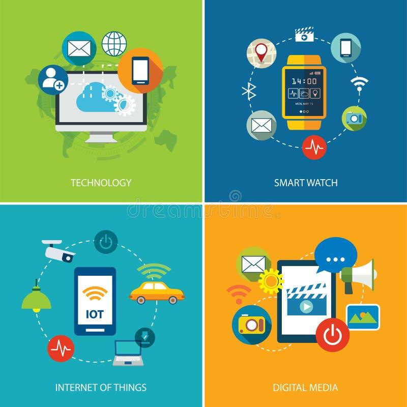 Uppsättning av teknologi, internet av saker och digitalt massmedia royaltyfri illustrationer