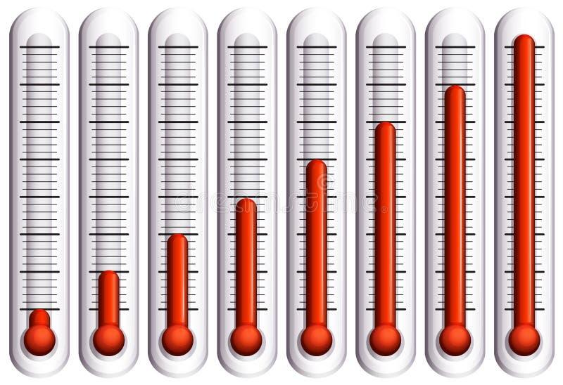 Uppsättning av termometrar på vit royaltyfri illustrationer