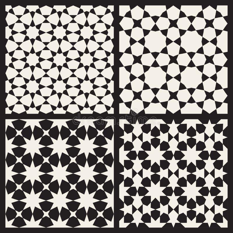 Uppsättning av Tessellation för fyra stjärnor för vektor den geometriska modellen för sömlös svartvit islamisk vektor illustrationer