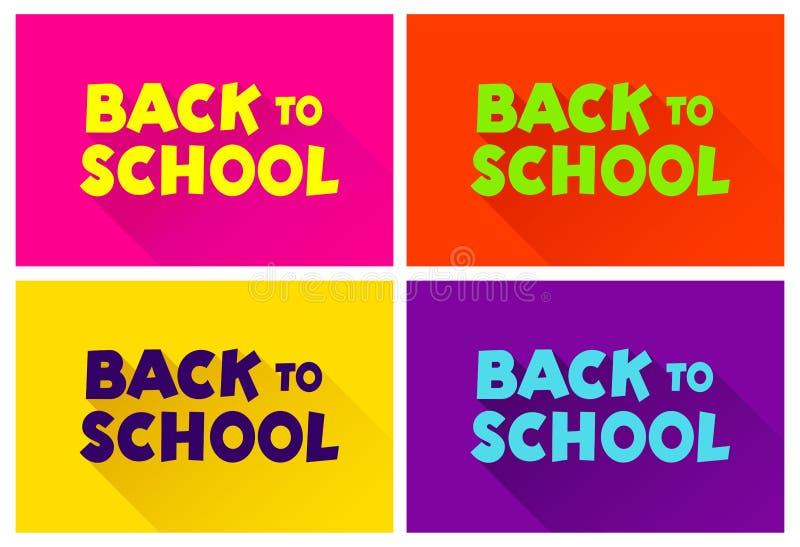 Uppsättning av text tillbaka till skolan I stilen av komiker av färgrikt Planlägg beståndsdelen för designen av broschyrer, kort, stock illustrationer