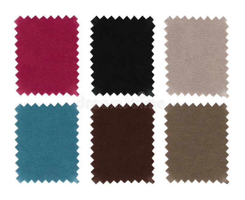 Uppsättning av textur för tygprovkartaprövkopior Färg för Closeupprövkopiastycken Rosa, blått, grått, brunt, beige och svart färg royaltyfria bilder