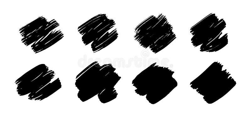 Uppsättning av textur för vektorsvartmålarfärg, färgpulverborsteslaglängd royaltyfri illustrationer