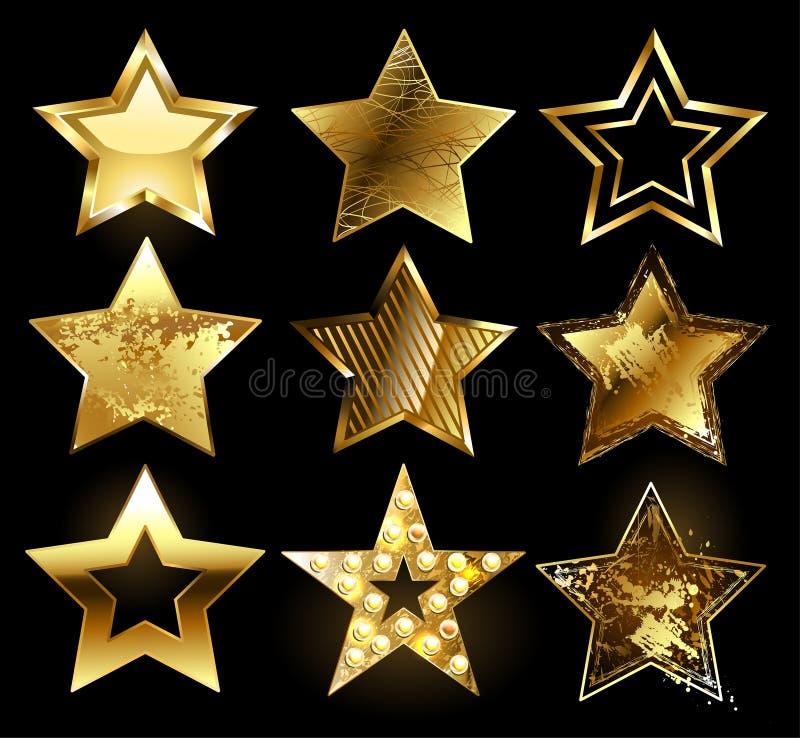 Uppsättning av texturerade guld- stjärnor stock illustrationer