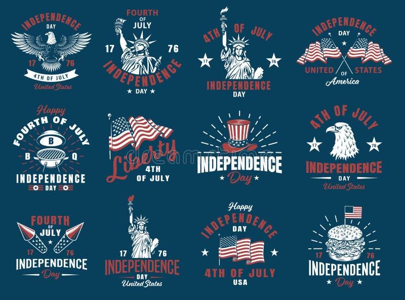 Uppsättning av 4th det juli emblemet stock illustrationer