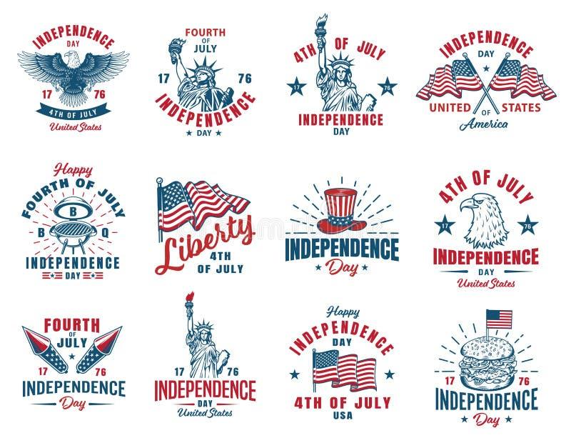 Uppsättning av 4th det juli emblemet royaltyfri illustrationer