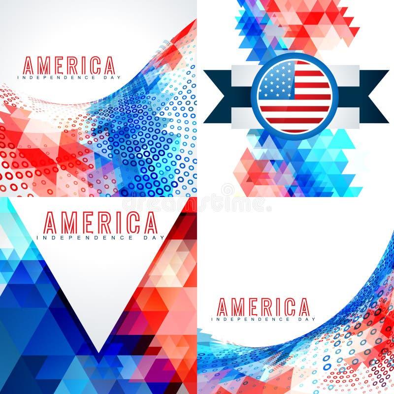 Uppsättning av 4th juli amerikansk självständighetsdagenbakgrund vektor illustrationer
