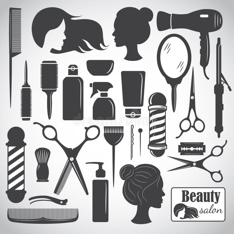 Uppsättning av tillbehör för för skönhethårsalong eller frisersalong stock illustrationer