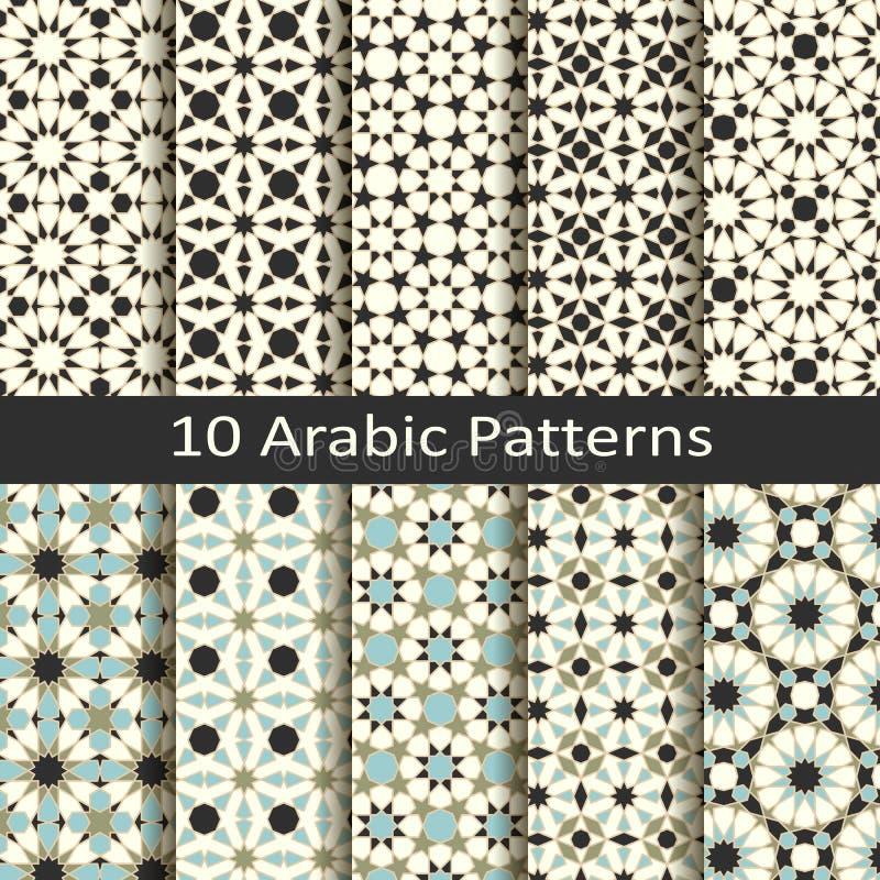 Uppsättning av tio arabiska traditionella geometriska modeller för sömlös vektor design för räkningar som förpackar, textil royaltyfri illustrationer