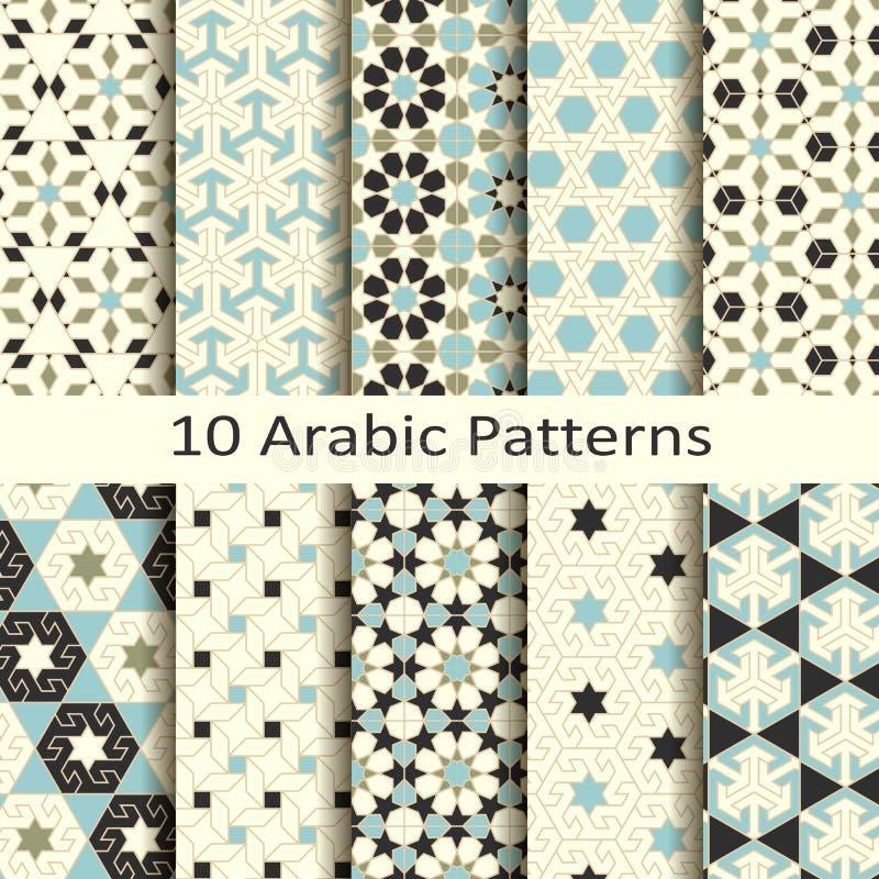Uppsättning av tio arabiska traditionella geometriska modeller för sömlös vektor design för räkningar, textil som förpackar stock illustrationer