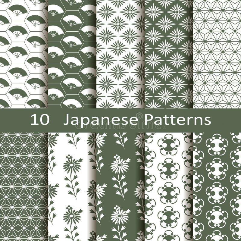 Uppsättning av tio japanska modeller royaltyfri illustrationer