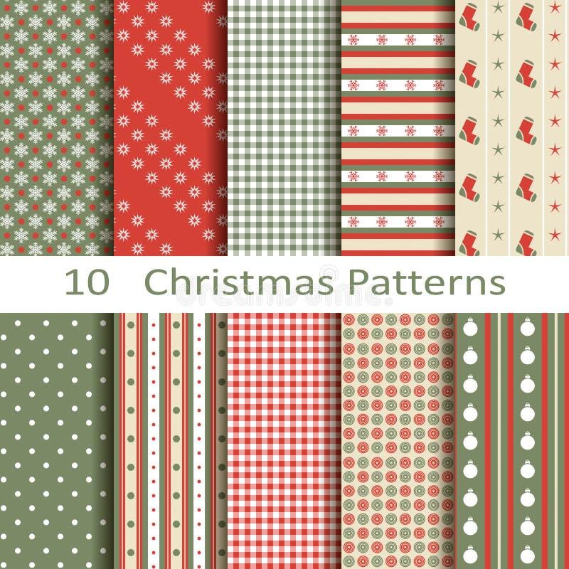 Uppsättning av tio julmodeller vektor illustrationer