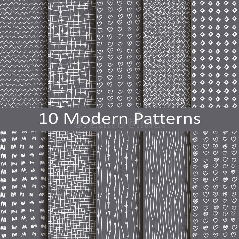 Uppsättning av tio moderna modeller stock illustrationer