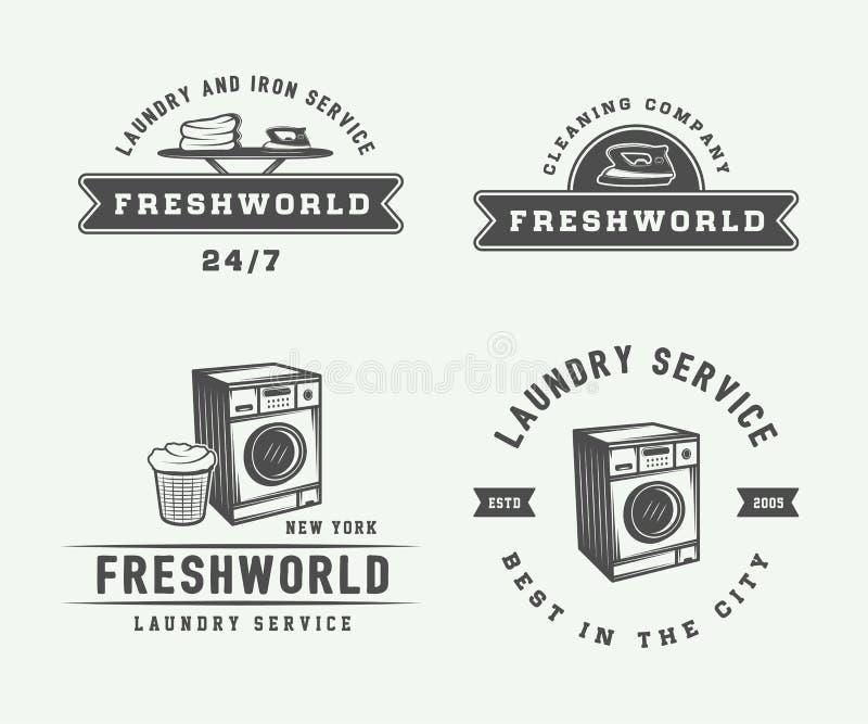 Uppsättning av tjänste- logoer för för för tappningtvätteri, lokalvård eller järn, emblem, vektor illustrationer