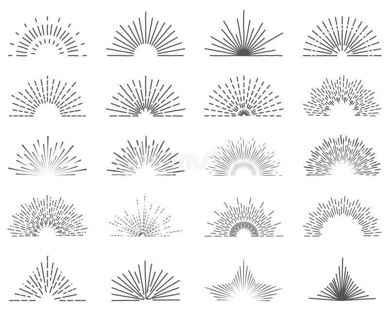 Uppsättning av tjugo linje ljusa strålar Solbristningar för tappningstillogoer rays fullständigt unik illustrerad sol 20 bestånds vektor illustrationer
