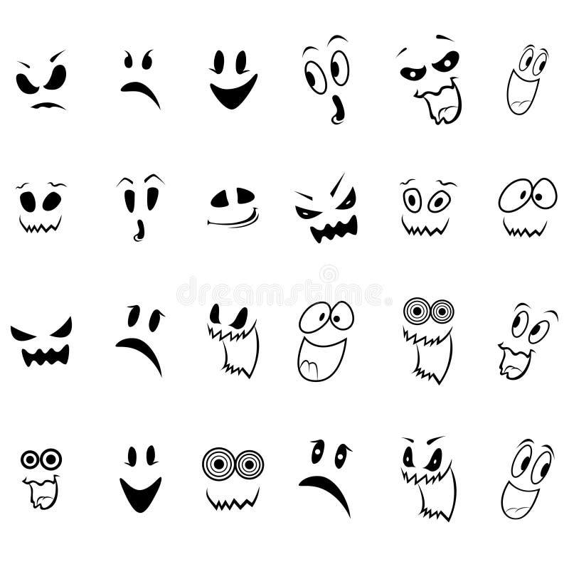 Uppsättning av tjugofyra spökeframsidaöversikt vektor illustrationer