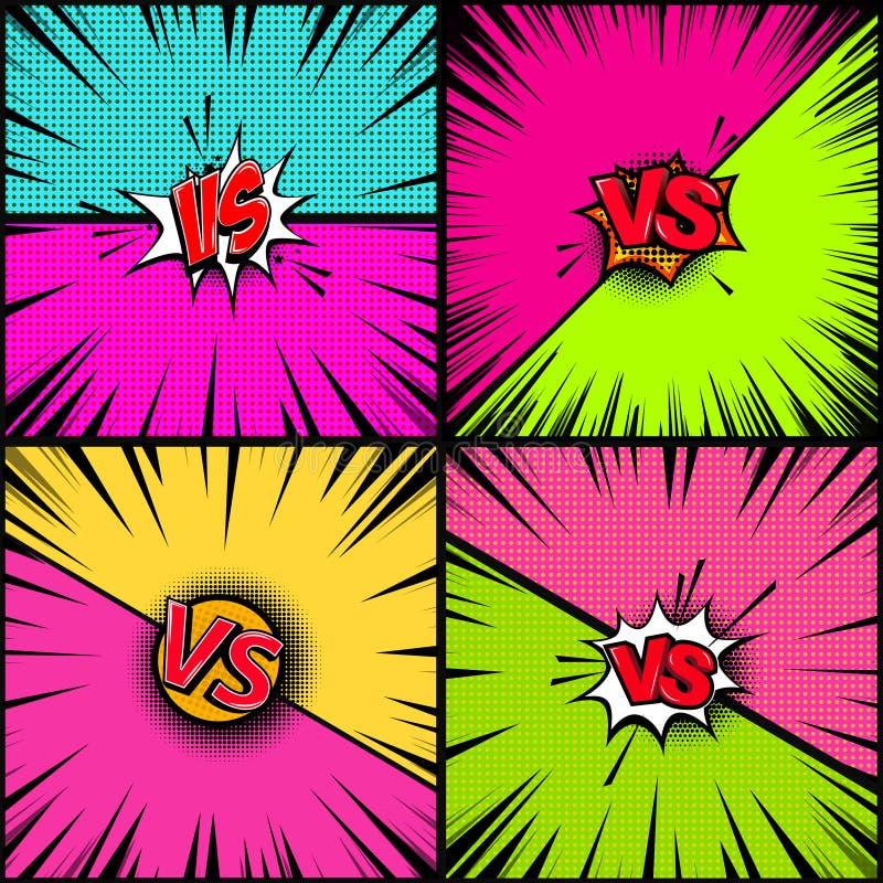 Uppsättning av tom humorbokstilbakgrund Kontra illustration Planlägg beståndsdelen för banret, affischen, reklamblad stock illustrationer