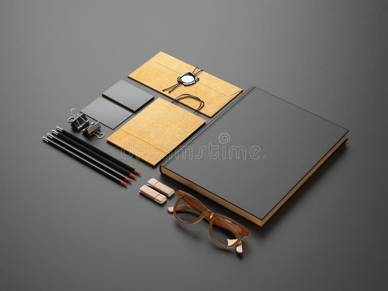 Uppsättning av tomma beståndsdelar på svartpappersbakgrund arkivfoton