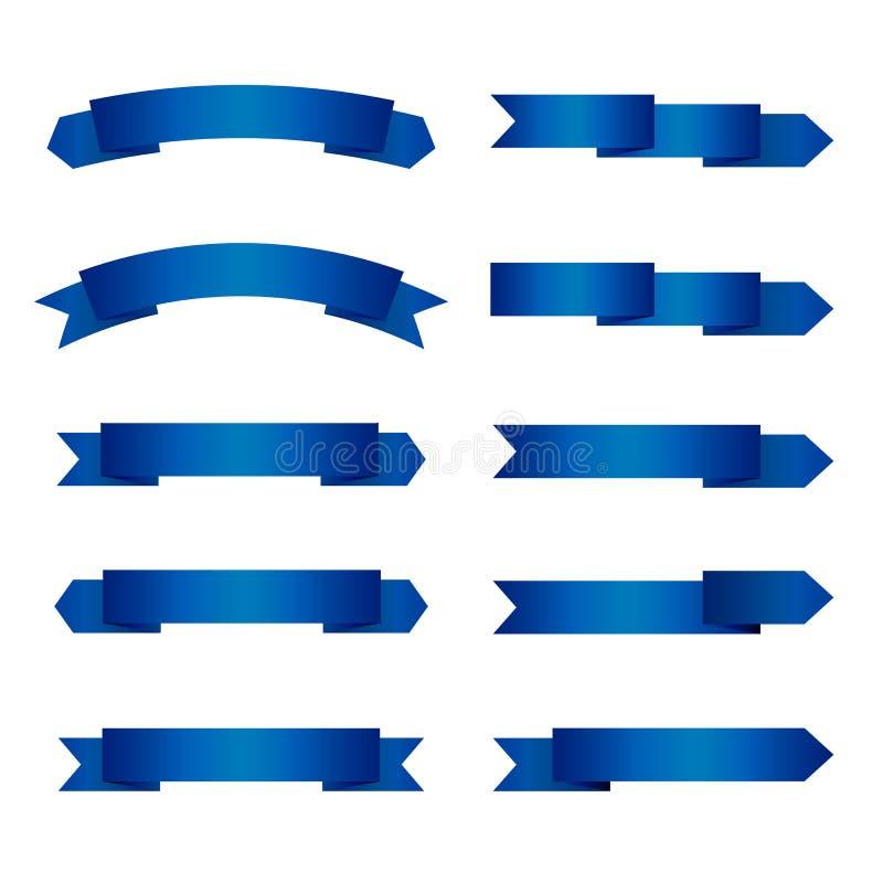 Uppsättning av tomma marinblåa band med stället för text vektor illustrationer