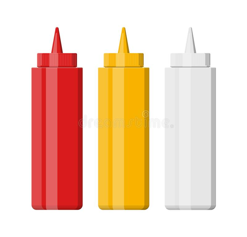 Uppsättning av tomma plast-flaskor för snabbmat vektor illustrationer