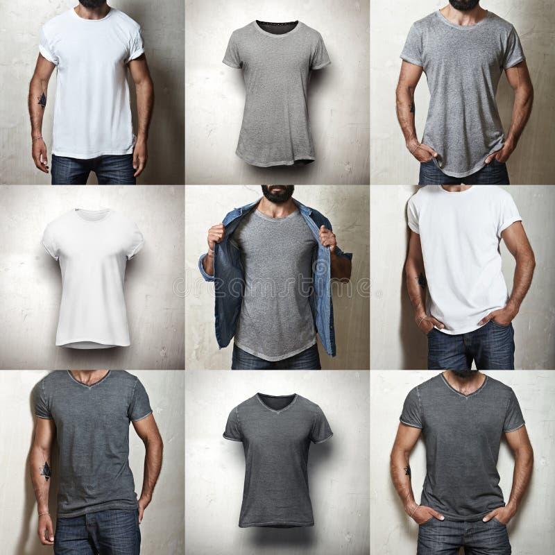 Uppsättning av tomma t-skjortor arkivbilder
