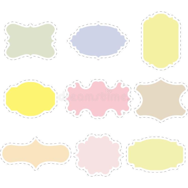 Uppsättning av tomma tappningramar Gåvan märker Skyla över brister etiketter Plan design Isolerade vektorer vektor illustrationer