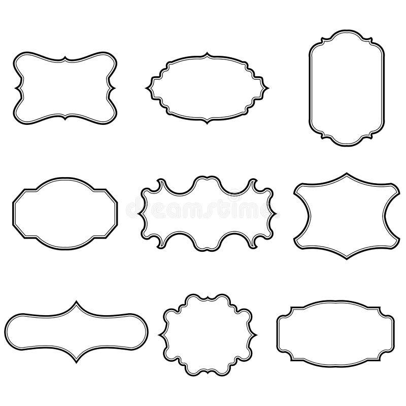 Uppsättning av tomma tappningramar Gåvan märker Skyla över brister etiketter Plan design Isolerade vektorer royaltyfri illustrationer