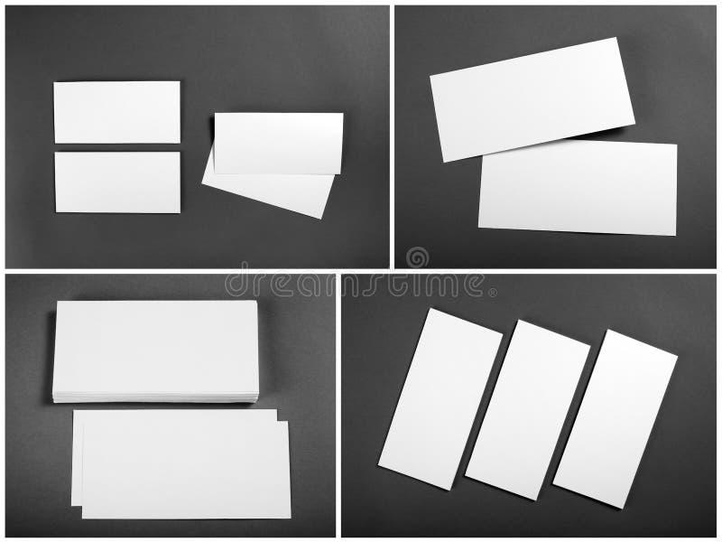 Uppsättning av tomma vita reklamblad över grå bakgrund Identitetsdesign royaltyfri bild