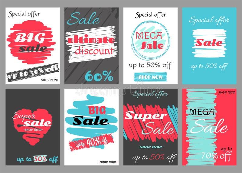 Uppsättning av toppna försäljningsrabattkuponger royaltyfri illustrationer