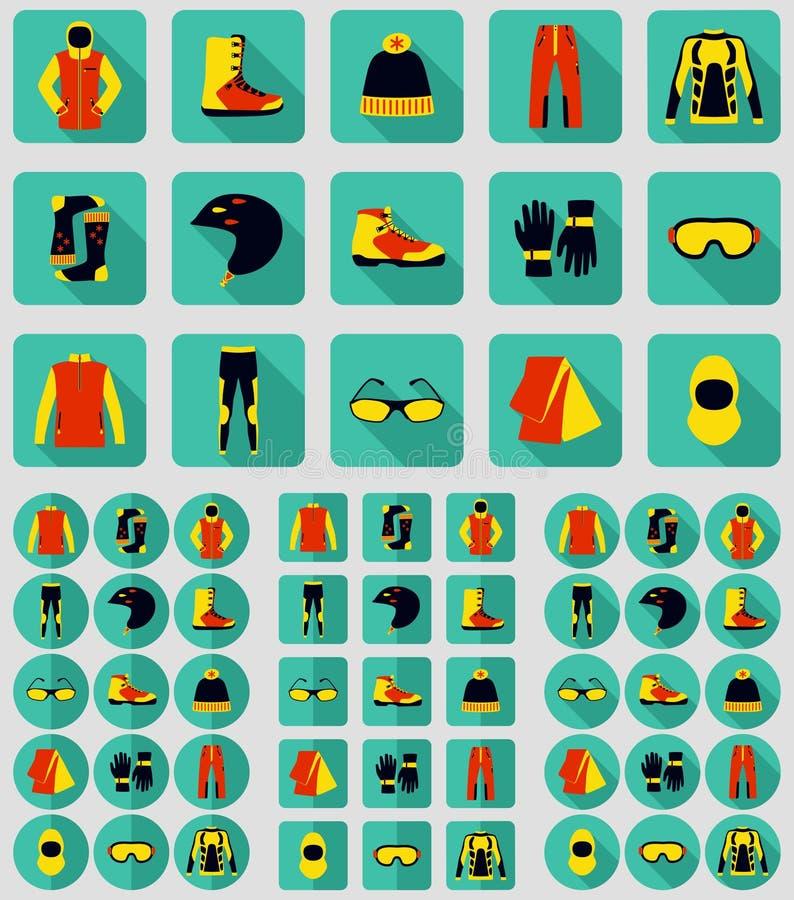 Uppsättning av torkduk och skor för vintersport stock illustrationer