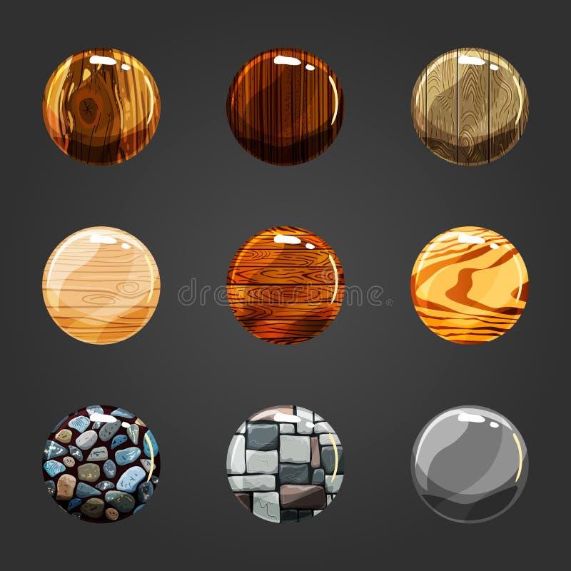 Uppsättning av trä- och stenknappar royaltyfri illustrationer