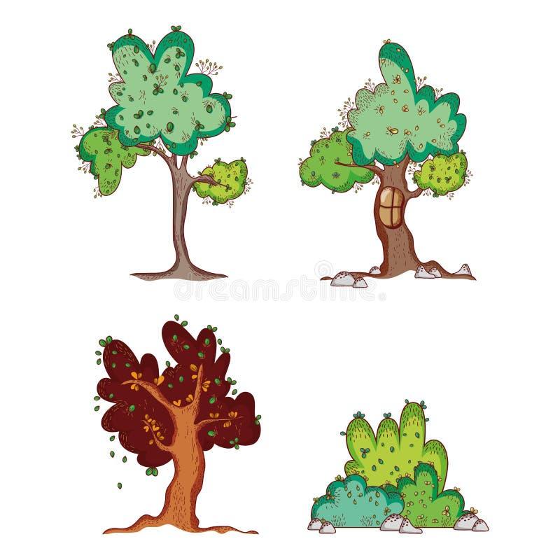 Uppsättning av trädklottertecknade filmer stock illustrationer