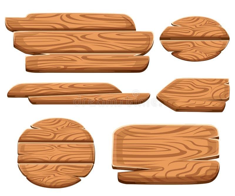 Uppsättning av träplattor i tecknad filmstil Träteckenbrädesamlingar För vägplankor för Wood tecken gammal uppsättning bakgrund i stock illustrationer